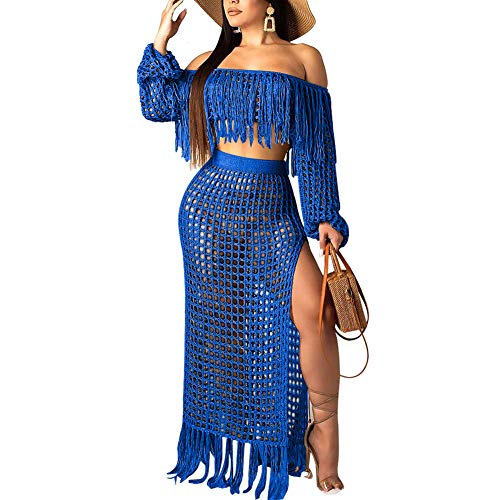 Women's See Through Hollow Out Coverup Two Piece Outfits Crop Top Maxi Skirt Set Blue XL - Fishnet Long Dress