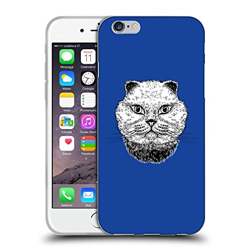 GoGoMobile Coque de Protection TPU Silicone Case pour // Q05220613 gros chat Bleu // Apple iPhone 6 4.7""