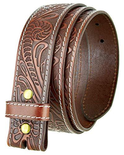 Floral Leather Belt Buckle - Western Floral Engraved Tooled Full Grain Leather Belt Strap 1.5