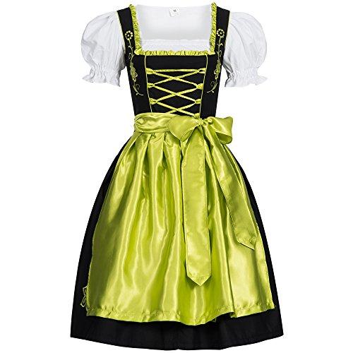 Dirndl Set Schwarz mit Schürze Grün Leuchtend Gr. 46