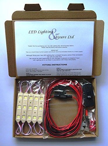 LED Shed Light Kit 12v 30 LEDs for Shed, Summerhouse, Outbuilding, Stable, Garage or Byre. LED Lighting and Leisure Ltd SS30