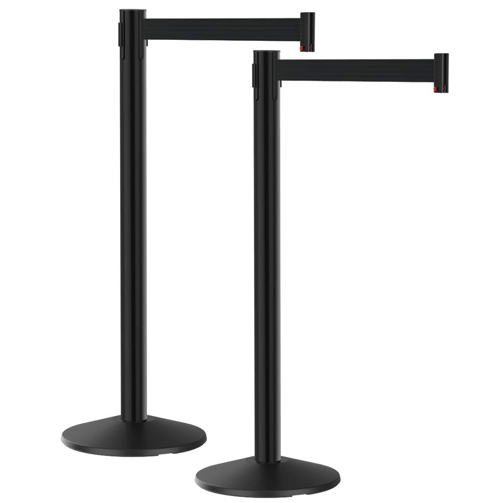 """Premium Cast Iron Base w// 40/"""" Tall Aircraft Aluminum Crowd Control Barrier Post Visiontron 10/' Long Retractable Belt Heavy Traffic 2-Stanchion Value Pack"""