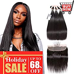 "Puddinghair Straight Brazilian 3 Bundles with Frontals Natural Black Unprocessed 100% Virgin Hair Bundles with 13""X4"" Ear to Ear Fontals,130 Density,Medium Brown Swiss Lace(16""18""20""+Frontal 16"")"
