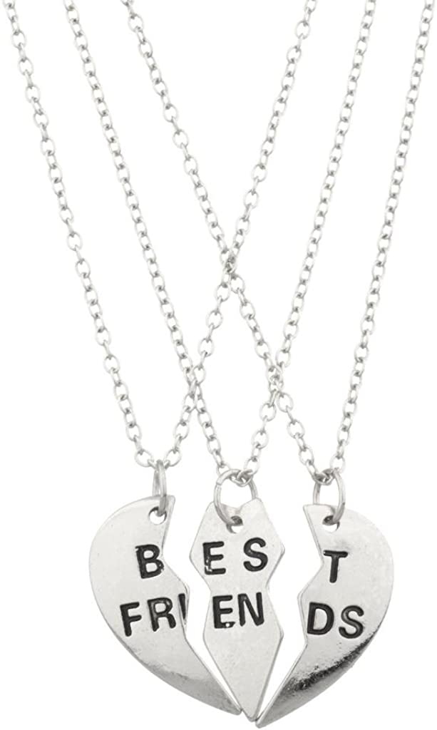 Lux Accessories Best Friends BFF Forever Valentine Heart 3 PC Necklace Set