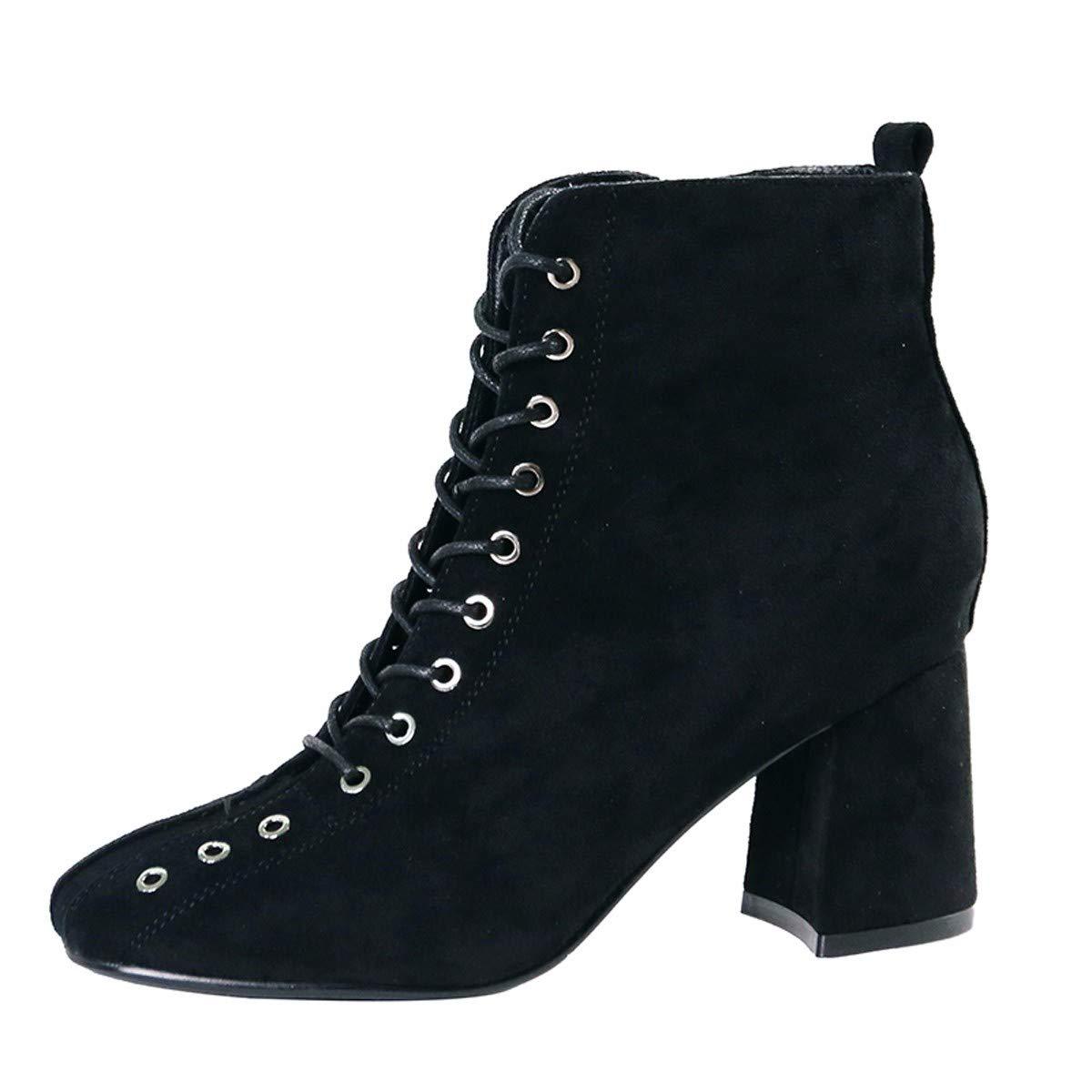 KPHY Damenschuhe/Trendige Kurze Stiefel, High 8Cm, Pravokotno Glavo In Rauen, Einfache, Wildleder, Reißverschluss, Ma Dingxue.