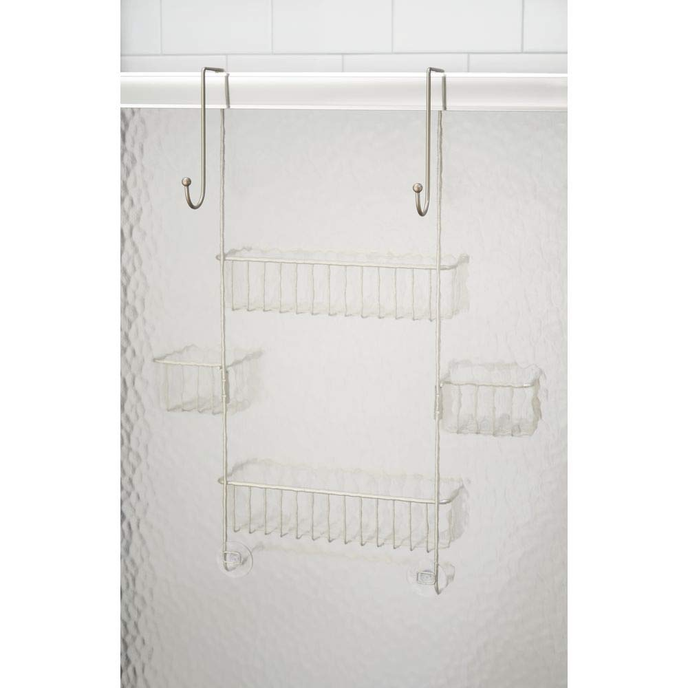 InterDesign Metalo Adjustable Over Door Shower Caddy – Bathroom Storage Shelves for Shampoo, Conditioner and Soap, Satin by InterDesign (Image #5)
