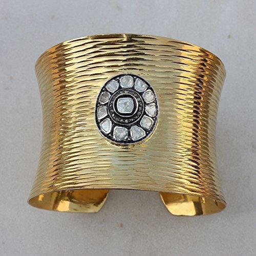 Yellow Gold Plated Polki/Rose Cut Diamond Cuff Bangle Bracelet 925 Sterling Silver Jewelry (Cut Rose Bangle Diamond)