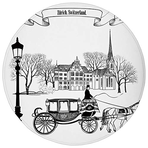 AZXGGV Round Rug Mat Carpet,Sketchy,Old Street Scene Carriage Horse from Twenties Historical Northern Europe Theme,Black White,Flannel Microfiber Non-Slip Soft Absorbent,for Kitchen Floor Bathroom