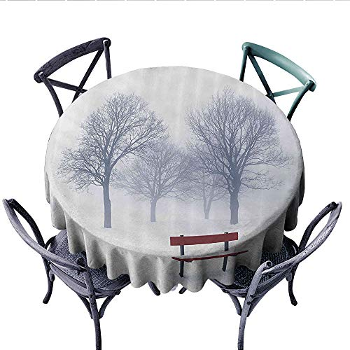 Nature Dinning Tabletop DecorForest with Abandoned Trees Winter Season Snowy Air with Red Bench Photo Dust-Proof Round Tablecloth (Round, 60 Inch, White Dimgrey Maroon)