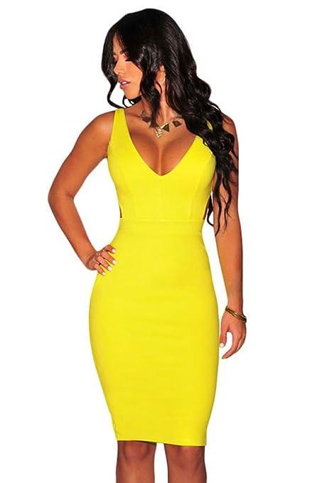 Vestido de noche de fiesta ajustado para mujer, espalda abierta, color amarillo, talla
