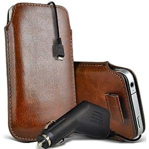 Motorola Moto T Protección Premium de PU Leather Tire Cord Tab Slip In Pouch Pocket piel con 12v USB Micro en Car Charger Brown por Spyrox