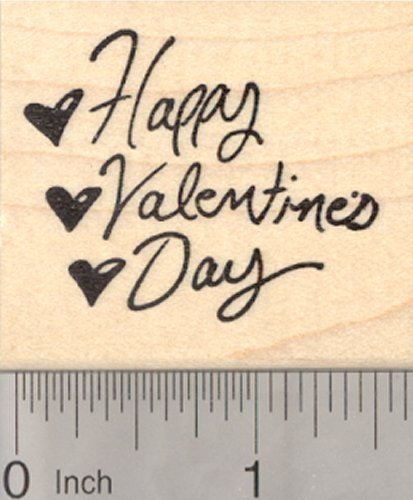 (Happy Valentine's Day Rubber Stamp with Hearts)