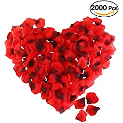 ROSENICE Silk Rose Petals 2000 Pcs Red Artificial Flower Petals for Valentine Wedding Partys Decoration