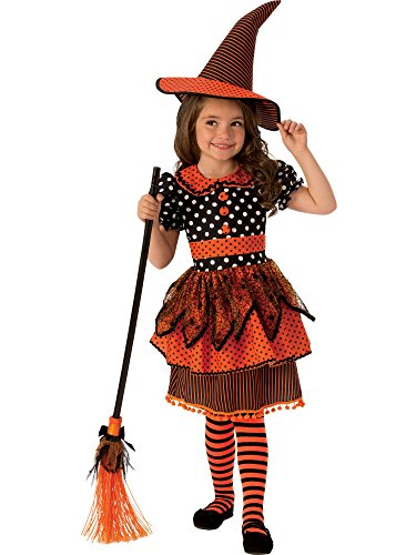 (Rubie's Polka Dot Witch Child's Costume, Orange/black,)