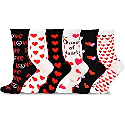 TeeHee Valentine's Day Heart and Love Women's Crew Socks 6-Pack (White and Black)