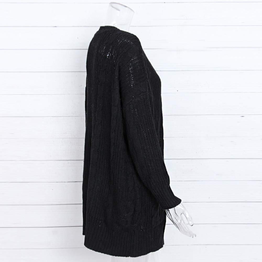 Kangma Womens Winter Open Front Solid Pocket Cardigan Long Sleeve Sweater Coat