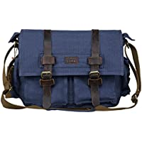 S-ZONE Vintage Canvas Leather Trim DSLR SLR Camera Shoulder Messenger Bag (Blue)