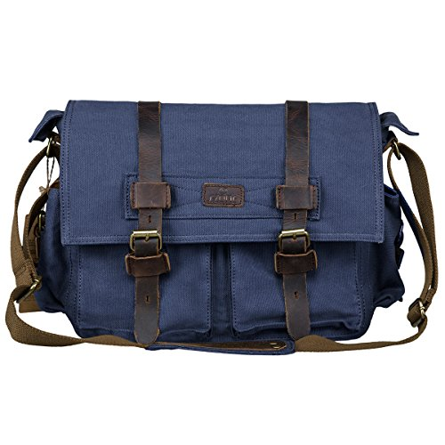 S-ZONE Vintage Canvas Genuine Leather Trim DSLR SLR Camera Shoulder Messenger Bag (Blue)