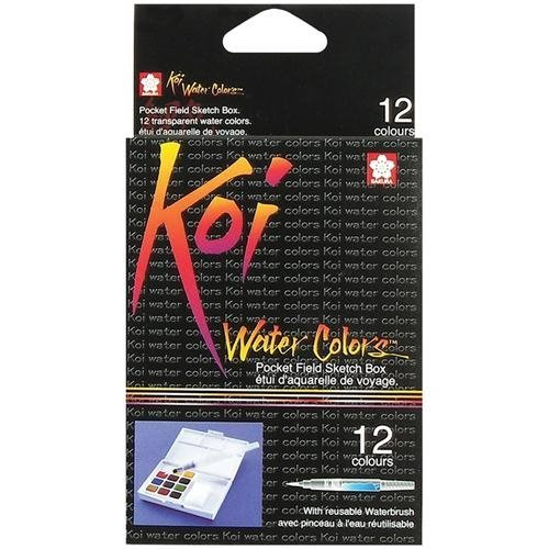 Koi Watercolor Pocket Field Sketch Box - 12 Colors-Assorted Colors by Sakura of America