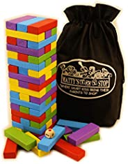 Matty's Mix-Up 60pc Large Colorful Wooden Tumble Tower Deluxe Stacking Game with Storage