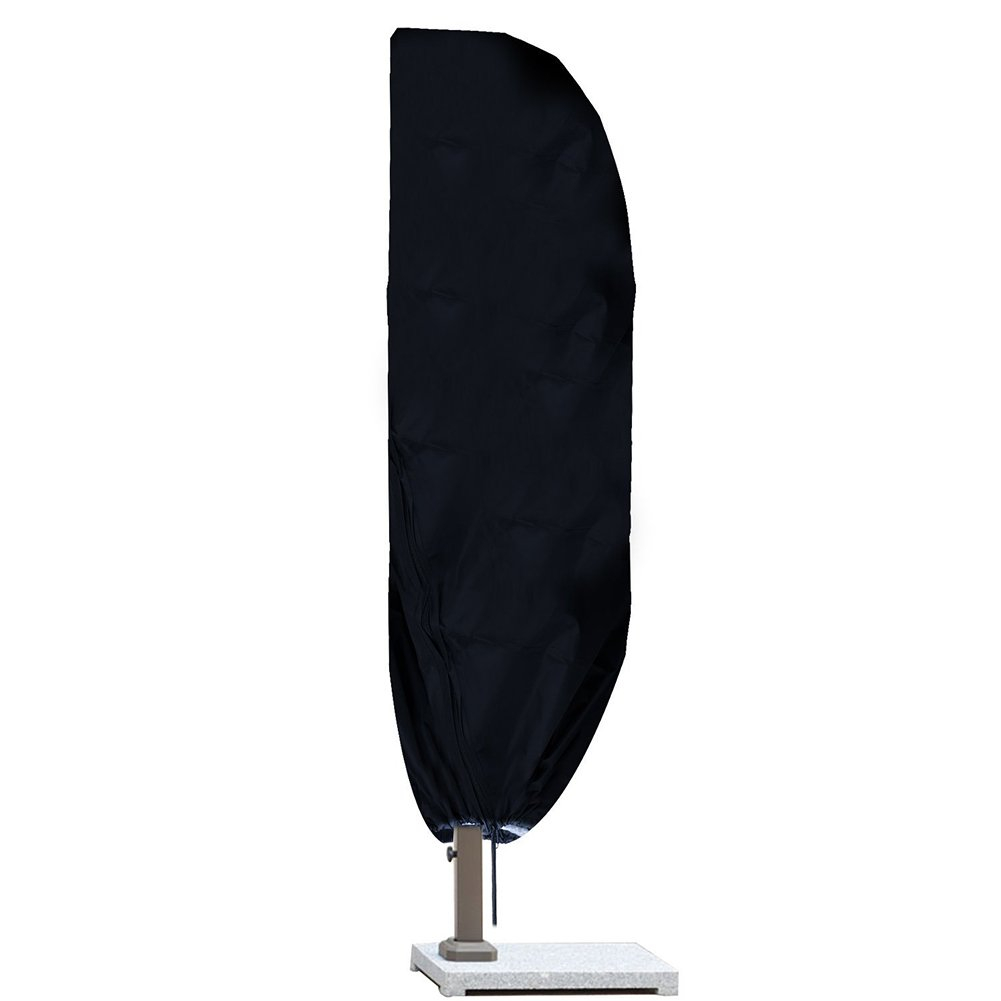 Offset Umbrella & Frame Cover Outdoor Market Patio Umbrella Cover Weather Parasol Cover Fits 9-11ft Cantilever Umbrellas, with Zipper and Water Resistant Fabric#37-YST (Black)