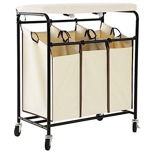 Songmics 3-Bag clasificador de lavandería con tabla de ...