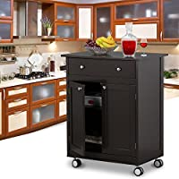 Topeakmart Kitchen Cart on Wheels with Drawers Rolling Kitchen Trolley - Coffee, 26.8 x 17.7 x 33.9 inch