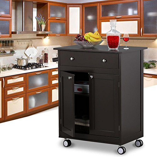 Topeakmart Kitchen Cart on Wheels with Drawers Rolling Kitchen Trolley - Coffee, 26.8 x 17.7 x 33.9 inch by Topeakmart