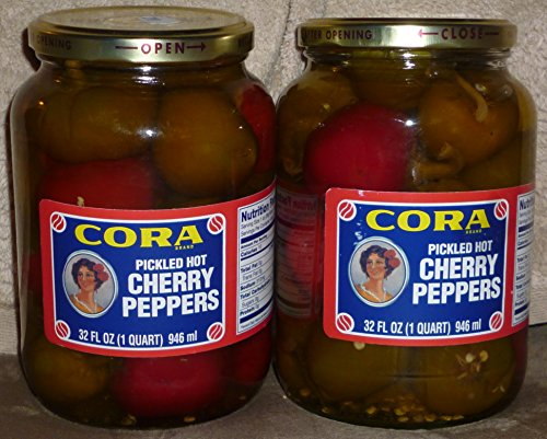 Italian Pickled Peppers - Cora Whole Pickled Hot Cherry Peppers (Hot), 1 Quart (2) Pack