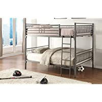 Home Source 50902083 Sturdy Metal Bunk Bed, Full, Grey