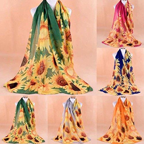 Girasole Scialle stampato Beach arancione Chic multifunzionali donne Scialle Casual fiore Wrap Sciarpa Adeshop Sciarpe Elegante Sciarpe Sweet Sciarpa Fashion 5q6HxgY0
