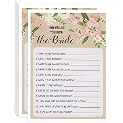 Floral Bridal Shower Games - How Well Do You Know the Bride, 50 Sheet Rustic Wedding Game Cards, Party Supplies for Bachelorette Party and Wedding Activity, 50 Vintage Cards Included, 5 x 7 Inches