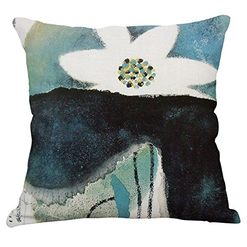 (YeeJu Lotus Plant Decorative Throw Pillow Covers Cotton Linen Square Cushion Covers Outdoor Couch Sofa Home Pillow Covers 16x16 Inch)