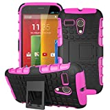Moto G -1st Gen Case, ANGELLA-M Built-in Kickstand Hybrid Armor Case Detachable 2in1 Shockproof Tough Rugged Dual-Layer Cover Case for Motorola Moto G X1032 (1st Gen,2013) Rose