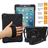 BRAECNstock New iPad 2018/2017 Case(5th Generation), Three Layer Heavy Duty Soft Silicone Hard Bumper Case Built-in Kickstand Shockproof Durable Rugged Case for New iPad 9.7 Inch 2018/2017(Black)