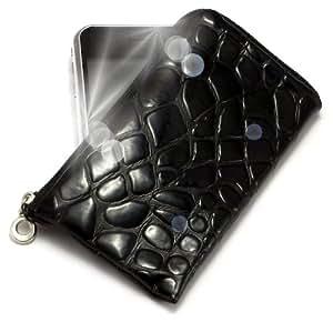 """""""Geco"""" Negro, Lujosa Billetera / Sostenedor en imitación de cuero acolchonado y con cierre para Sagem my511X. Auténtica Funda / Estuche con correa para transportar para teléfonos móviles."""