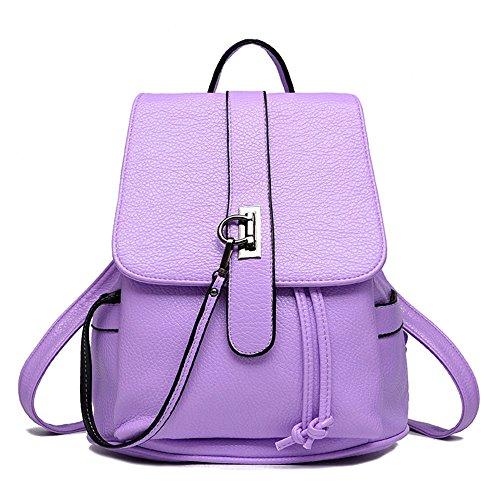 Wewod School Bag Women Pu Leather Fashion Trend Pattern Casual Bags Bag Backpack School Backpack Travel Bags 26 X 27 X 12 Cm (lxhxw) Purple