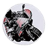 VAMIX Thick Round Beach Towel Blanket,Motorcycle,Motorcycle Rally Race Sketchy Image Grunge Effects Speed Championship Competition,Red Black,Multi-Purpose Beach Throw£¬
