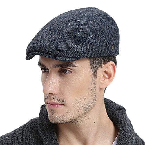 VOBOOM Mens Winter Wool Irish Tweed Caps Cold Weather Flat Cap Back Adjustable Stretch Fit (186-Navy, S/M 57~58cm)