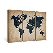 SUMGAR Wall Art for Office World Map Beige and Black Framed Wall Décor 3 Piece Abstract Prints on Canvas Paintings for Living Room