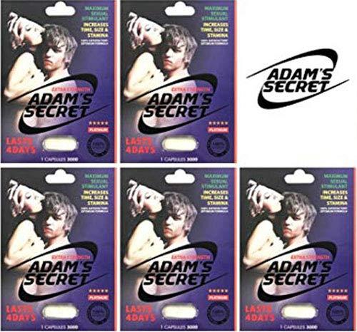 New Adams Secret 3000 5Pill 100% Natural Male Libido Performance Enhancement with Adams Secret Original Inner Seal(Pack of 5)