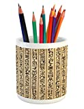 Ambesonne Egyptian Pencil Pen Holder, Ancient Hieroglyphs Grunge Pattern on Stripes Archeology History Language, Printed Ceramic Pencil Pen Holder for Desk Office Accessory, Sand Brown Black