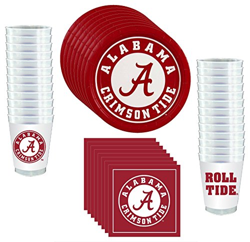 Alabama Crimson Tide Party Supplies by Westrick - 81 pieces (Serves 24) -