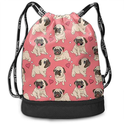 Polyester Drawstring Bag Theft Proof Waterproof Large Size Rucksack Large Capacity For Basketball, Volleyball, Baseball, Sports & Workout Gear (Pug Dog Love - Bag Chair Volleyball Bean