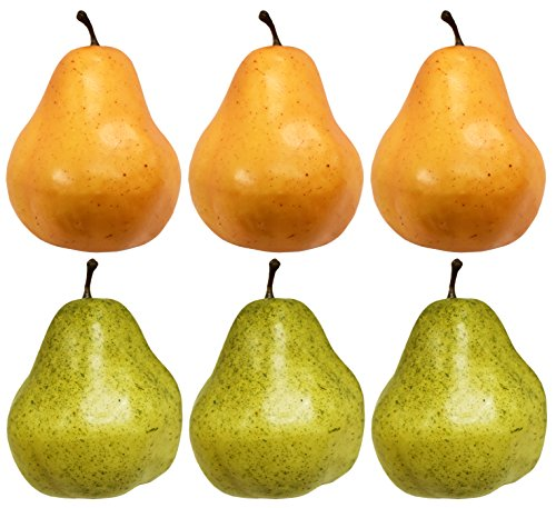 Speckle Pear (Set of 6 Artificial Decorative Pears - Green Pears - Yellow Pears - Realistic Pears Perfect for Decorative Center Pieces!(6, Green & Yellow))