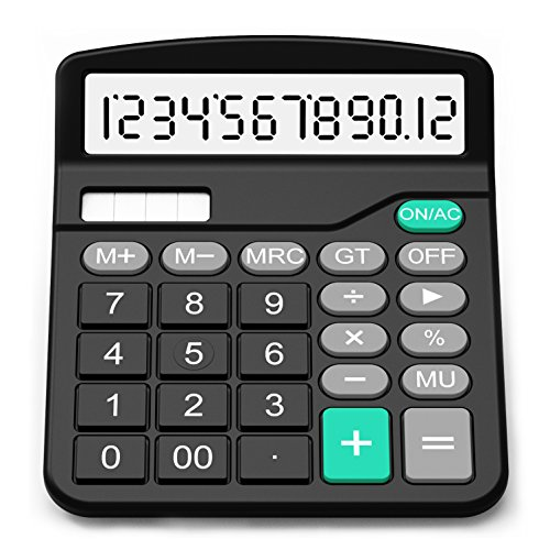Splaks Calculator, Standard Functional Desktop Calculator Solar and AA Battery Dual Power Electronic Calculator with 12-Digit Large Display