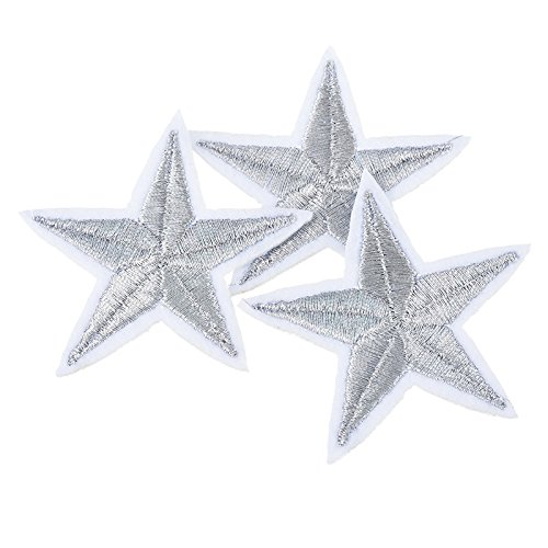 Yalulu 20Pcs Silver Star Embroidered Iron On/Sew On Badge Applique Patch for (Iron On Patches Appliques)