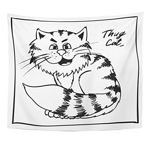 Emvency Tapestry Super Thug Kitty on The Holiday Rest Infantile Outline Sketch Cat for Coloring Book Bandit Animal Doodle Home Decor Wall Hanging for Living Room Bedroom Dorm 50x60 Inches