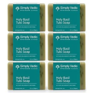 Simply Vedic 6-Pack Holy Basil/Tulsi Soap Bar For Body, Hand, Face. Made With Holy Basil Essential Oil, 100% Vegan Cold Pressed With Coconut Oil, Hand-Made, Gift Set For Men & Women (3.5 Oz. X 6). 120