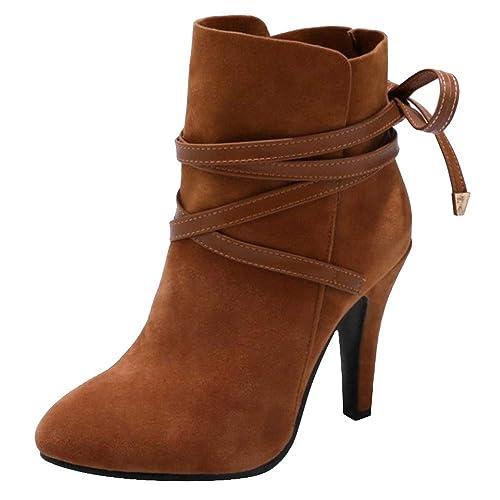 RAZAMAZA Mujer Tacón Altos Botas de Tobillo Cordones: Amazon.es: Zapatos y complementos